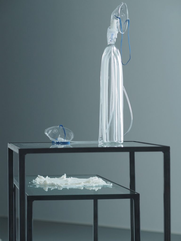 The Smell of Glass – My Need of Smell, 2018, blown glass, breathing masks, metal desks, float glass, odourless fat. Dimensions variable. Lena Trost's artistic practice