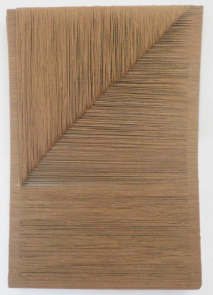 Chair, 2015, series of woven canvas, marsh grass, paper cord, broom plant, wood frames, 130 x 70, 150 x 90, 140 x 80, 140 x 90, 140 x 90, 90 x 50 cm Chair frees the materials employing from their most evident and stereotypical meaning, giving the spectator the chance to reconsider them as spaces of potential imagery, generated from their own nucleus and empowered by a vision.