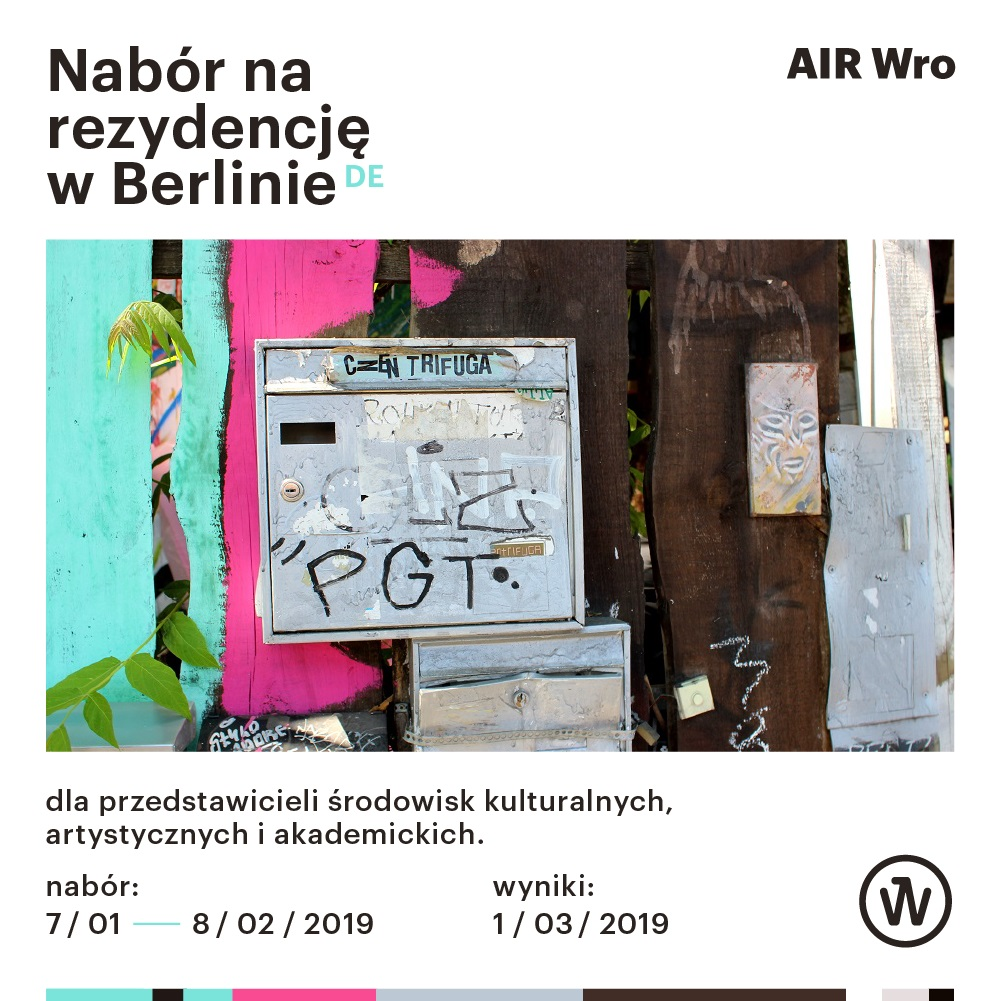 Culture Zone Wrocław within the framework of AIR Wro programme and Berlin Sessions Residency are glad to announce the launch of an open call for a one-month long residency in Berlin.