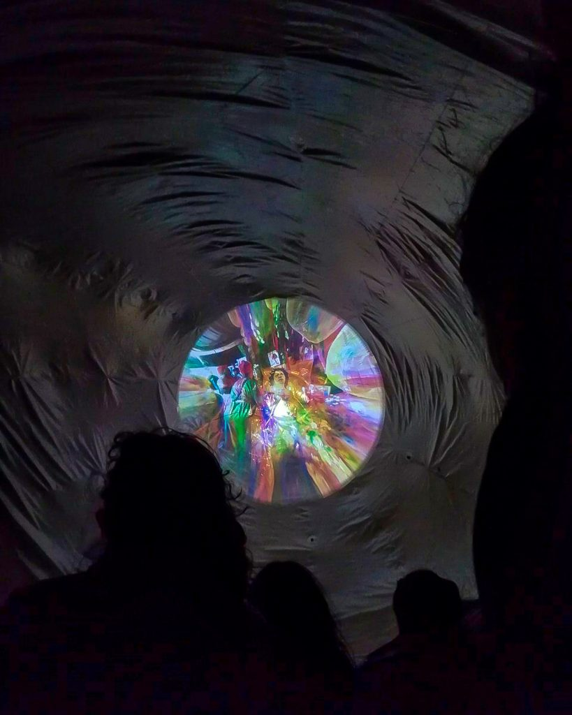 """The River told me so"", 2019, double dome projection mapping on inflatable architecture, Ecologies of Protest , Uferstudios, Berlin."